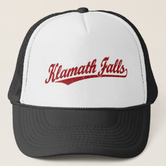 Klamath Falls script logo in red distressed Trucker Hat