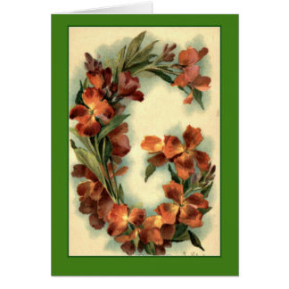Klein Flower Alphabet Letter G Orange Nasturtiums Card