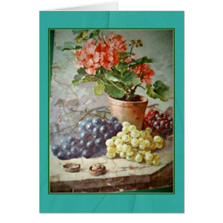 Klein Pink Geraniums Purple Grapes Card