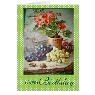 Klein Red Geraniums Green Purple Grapes Birthday Card