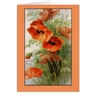 Klein Vintage Red Poppy Flowers Card