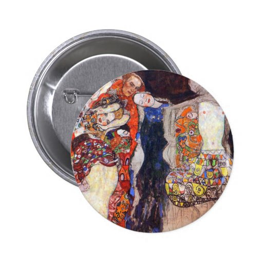 Klimt  Adorn the bride with veil and wreath Pinback Button