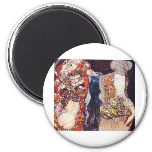 Klimt  Adorn the bride with veil and wreath Refrigerator Magnet