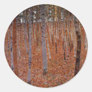 Klimt Beechwood-Forest Round Sticker