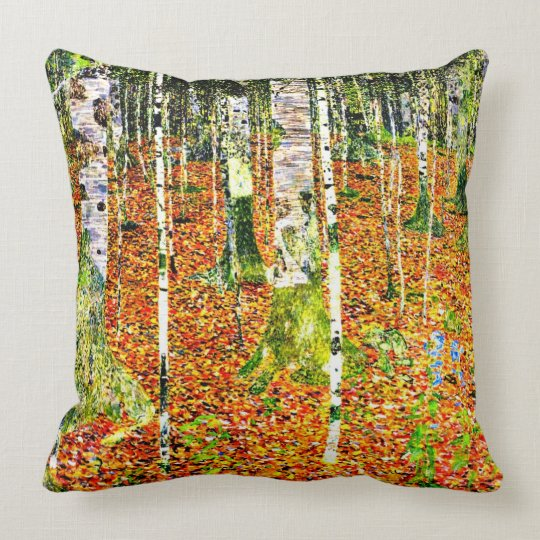 Klimt - Birch Forest, painting by Gustav Klimt Throw Pillow