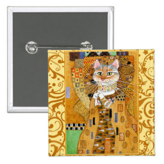 Klimt Cat in Gold square pinback 2 Inch Square Button