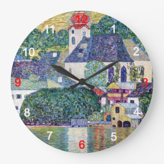 """Klimt, """"Church in Unterach at the Attersee"""" Large Clock"""