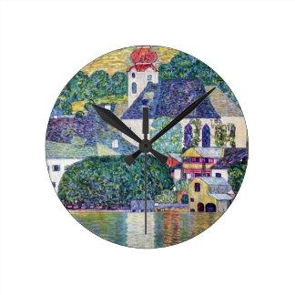 """Klimt, """"Church in Unterach at the Attersee"""" Round Clock"""