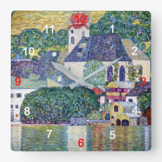 """Klimt, """"Church in Unterach at the Attersee"""" Square Wall Clock"""