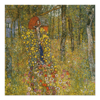 Klimt Farm Garden with Crucifix Poster