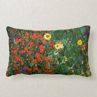 Klimt - Farm Garden with Sunflowers Lumbar Pillow
