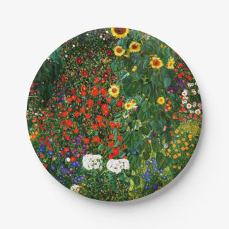 Klimt - Farm Garden with Sunflowers Paper Plate