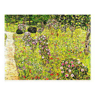 Klimt - Fruit Garden with Roses, Gustav Klimt art Postcard