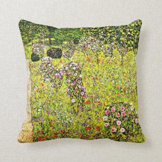 Klimt - Fruit Garden with Roses, Gustav Klimt art Throw Pillow
