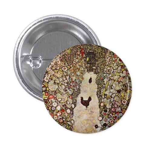 Klimt Garden With Roosters Button