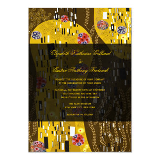 "Klimt Inspired Art Nouveau Chic The Kiss Wedding 5"" X 7"" Invitation Card"