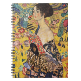 Klimt Lady with Fan Fine Art Spiral Note Book