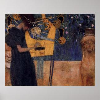 Klimt Music Harp Poster