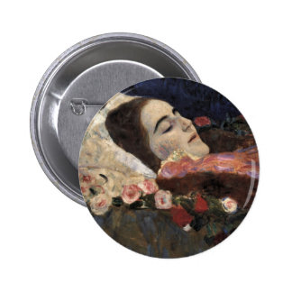 Klimt Ria Munk On Her Deathbed Pinback Buttons
