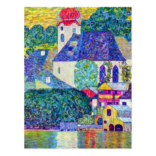 Klimt St Wolfgang church in Unterach on Lake Atter Postcard
