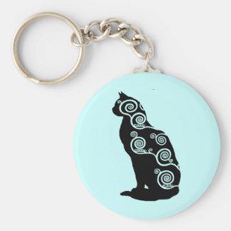Klimt style cat basic round button keychain