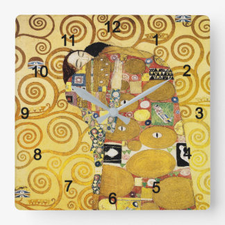 "Klimt, ""The Embrace"" Square Wall Clock"