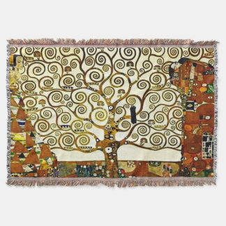 Klimt - The Tree of Life, stoclet frieze Throw Blanket