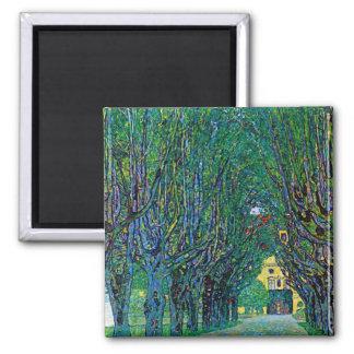 Klimt way to the park avenue in schloss kammer art square magnet