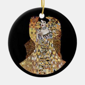 Klimt's Portrait of Adele Bloch-Bauer Round Ceramic Ornament