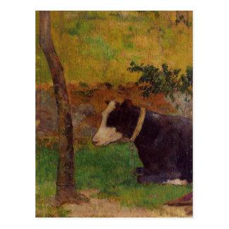 Kneeling cow by Paul Gauguin Postcard