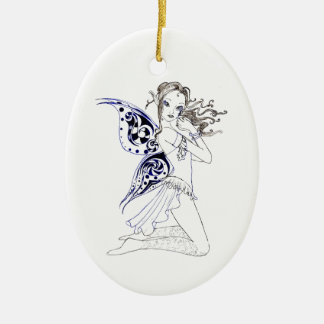 Kneeling Fairy Ceramic Ornament