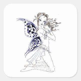 Kneeling Fairy Square Sticker