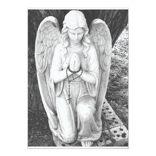 Kneeling guardian angel card