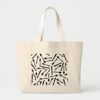 Knife Fork And Spoon Background Large Tote Bag