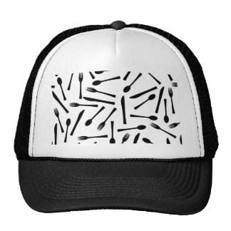 Knife Fork And Spoon Background Trucker Hat