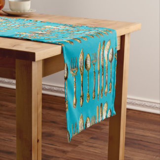 Knife fork spoon gold turquoise short table runner