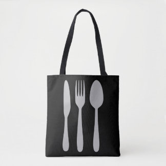 Knife Fork Spoon Silverware Cutlery Tote Bag