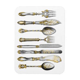 Knife fork spoon vintage setting rectangular photo magnet