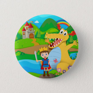 Knight and dragon on the fairy land 2 inch round button