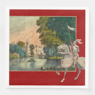 Knight and Horse in Armor Castle Behind Paper Dinner Napkin