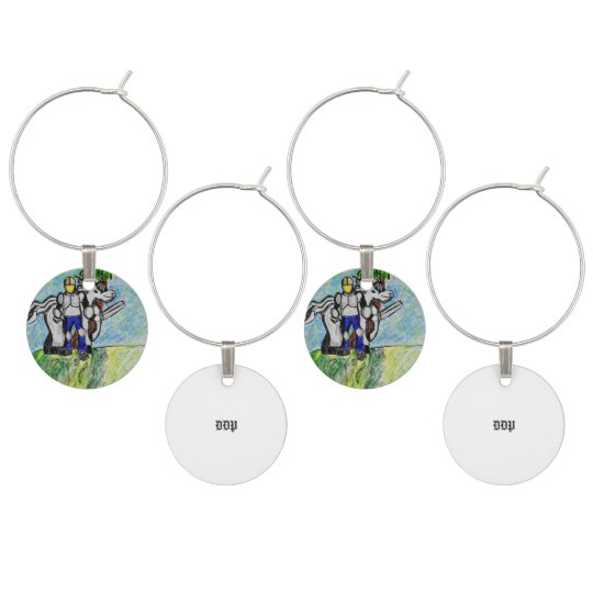 knight and horse wine glass charms