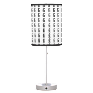 KNIGHT BAR CODE Chess Piece Pattern Design Table Lamp