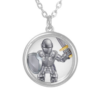 Knight Cartoon Character Silver Plated Necklace