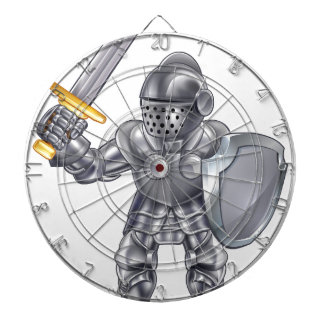 Knight Cartoon Mascot Character Dartboard