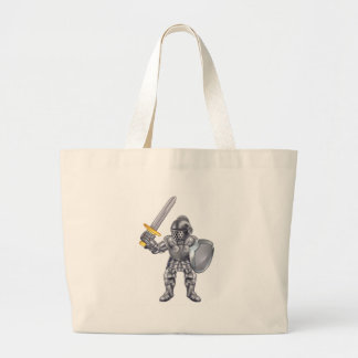 Knight Cartoon Mascot Character Large Tote Bag