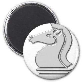 Knight Cool Metallic Chess Piece 2 Inch Round Magnet
