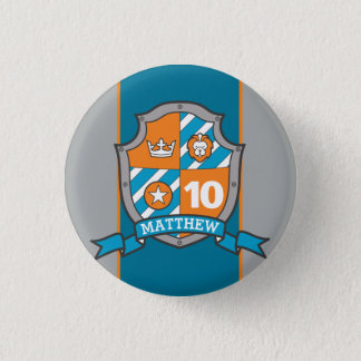 Knight crest 10th birthday age button pin