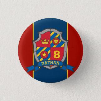Knight crest birthday age button pin