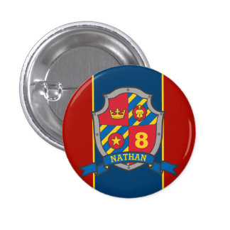 Knight crest birthday age button pin