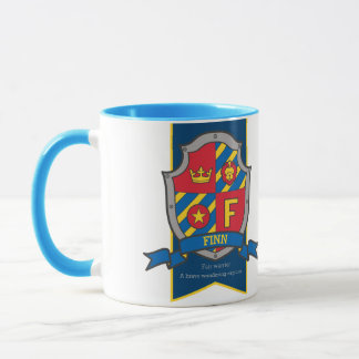Knight crest red blue name meaning Finn F mug